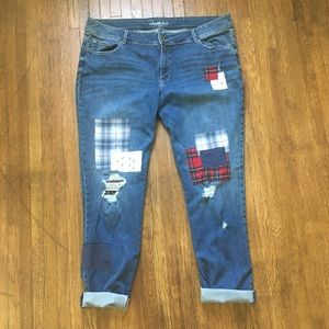 American Tag Cie flannel patch plus distressed